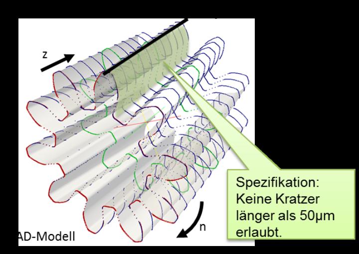 Abb. 2. CAD-Modell eines Zahnrades mit einem markierten Inspektionsschritt zur Untersuchung einer Flanke auf mögliche Kratzer. (c)