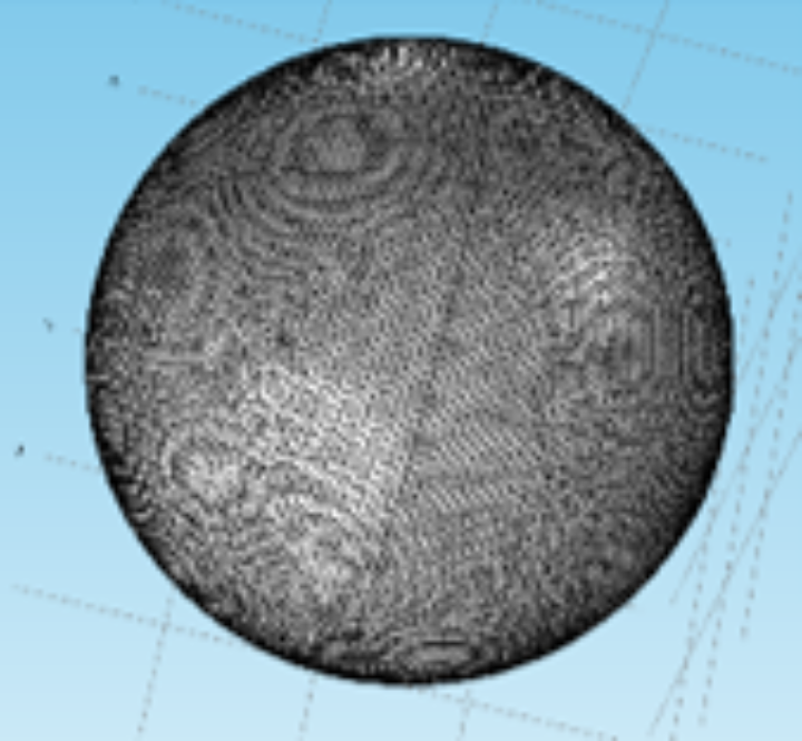 A silver sphere with a diameter of 2 µm meshed by COMSOL Multiphysics with 17291 flat triangular elements.