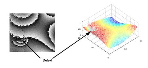 Bild 8 : Schwingungsmessung eines Objekts mit Defekt. Schwingungsfrequenz 2350 Hz. Streifenbild (a). Pseudo- 3D Darstellung der Schwingungsvorgang (b).